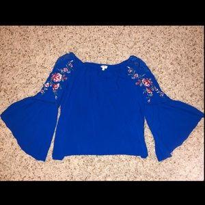 Boutique Belled Sleeve Off-Shoulder Blouse